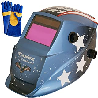 Tanox Auto Darkening Solar Powered Welding Helmet ADF-206S(USA Power): Shade Lens, Tig Mig MMA, Adjustable Range 4/9-13, Grinding 0000, Plus 16 Inch Kevlar Fire Retardant Welding Gloves