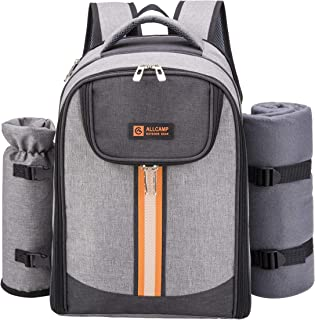 ALLCAMP Picnic Backpack Bag for 4 Person with Cooler Compartment & Picnic Blanket & Wine Holder and Tableware Perfect for Picnic Family and Lovers Gift, Outdoor, Hiking, Camping, BBQ Time(Gray)