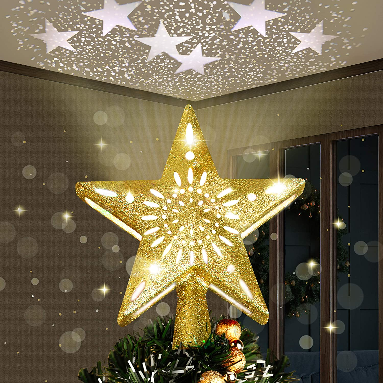 Joiedomi Manufacturer OFFicial shop Sales of SALE items from new works Gold Star Tree Topper Decorations H Christmas for