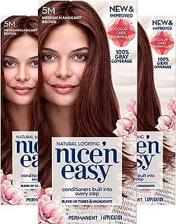 Clairol Nice'n Easy Permanent Hair Color, 5M Medium Mahogany Brown, Pack of 3