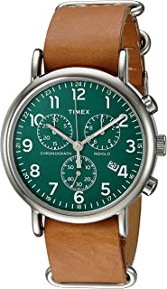 Unisex TWC066500 Weekender Chrono Green/Tan Double-Layered Leather Slip-Thru Strap Watch