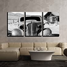 wall26 - 3 Piece Canvas Wall Art - Old Abandoned Car in Black and White Has Seen Better Days - Modern Home Decor Stretched and Framed Ready to Hang - 24