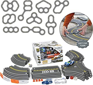 Modarri Delux Street Trackset | Race Car Track Building System | Build a Car Included Soft Eva Foam | 20 Track Pieces, 11 Driving Accessories, and 14 car Pieces in one Pack! STEM Toys