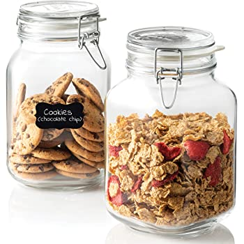 Bormioli Rocco Glass Fido Jars - 67 ¾ Ounce (2 L) Hermetic Sealed Hinged Airtight Lid for Fermenting, Pantry, Kitchen Storage Jars, Bulk Food Storage Containers, With Paksh Chalkboard Labels (2 Pack)
