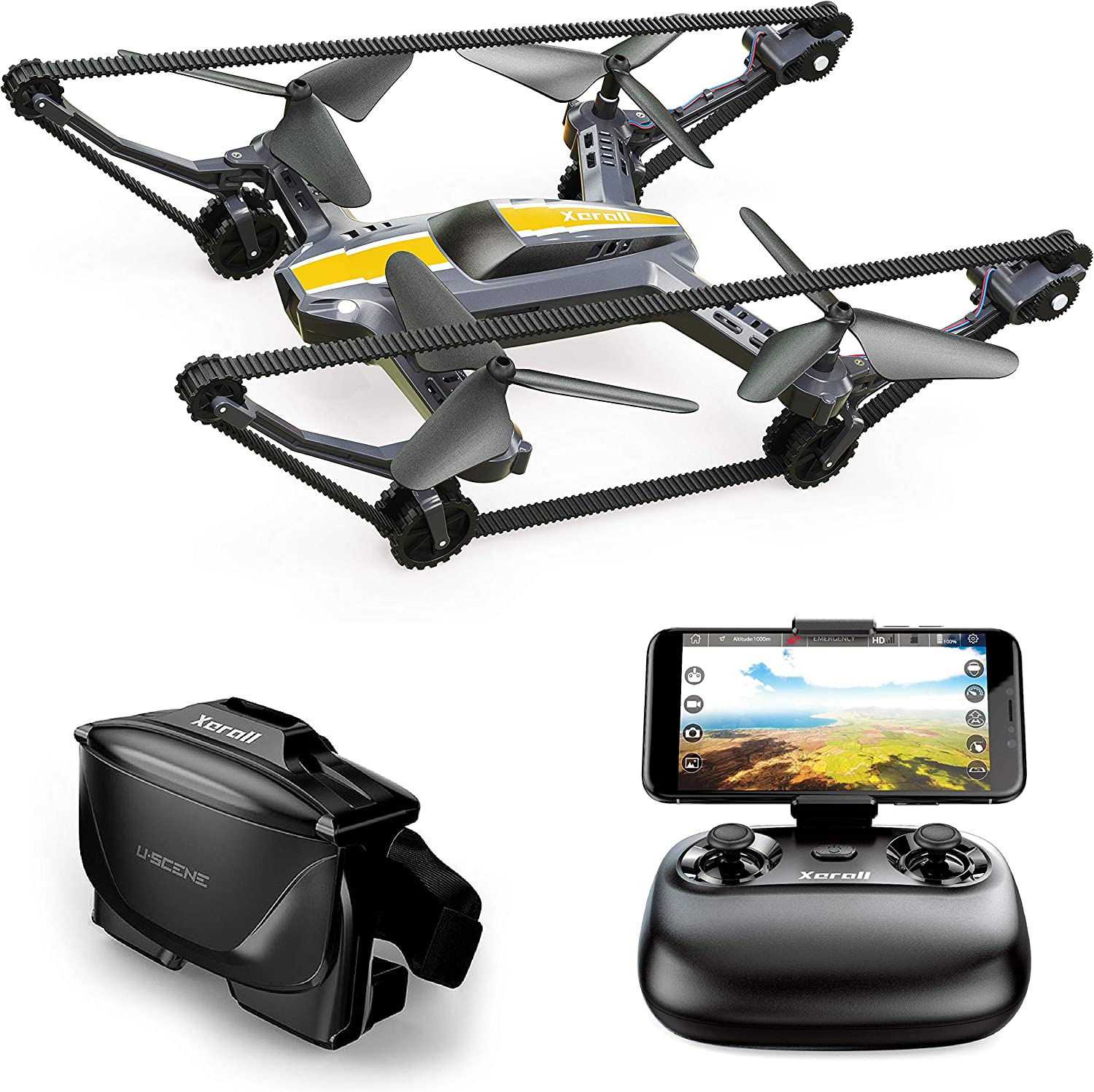Xerall X-TANKCOPTER Hybrid Quadcopter-Tank Drone, HD Camera, Smartphone App, VR Goggles FPV, 2.4GHz…