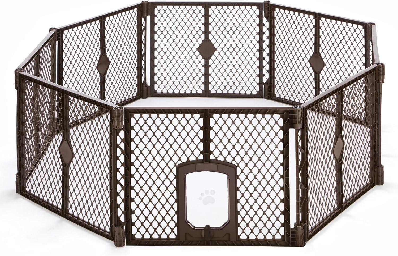 North States MyPet Indoor Outdoor Petyard Passage  Pet enclosure with lockable pet door. Freestanding (26  tall, Brown)