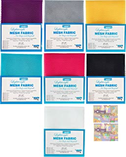 """ByAnnie's Mesh Fabric Lightweight Bundle-Lipstick, Pewter, Tahiti, Navy, Parrot Blue, Dandelion and White 18"""" x 54"""" with 2..."""
