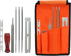 "Drixet Chainsaw Sharpening & Filing Kit – Includes: 5/32"", 3/16"" & 7/32 Inch Round Files, Flat File, Depth Gauge, Filing Guide, Handle, Tool Pouch, Combo 8-Piece Pack with Instructions"