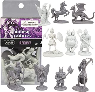 SCS Direct 10 pcs Fantasy Creatures Action Figure Playset - Monster Battle Toy Collection (Includes Dragons, Wizards, Orcs, and More) - Perfect for Roleplaying and D&D Gaming