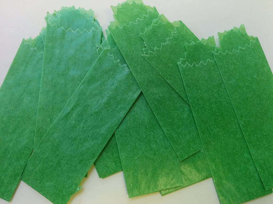Vellum Glassine Stamp Wax Paper Envelope Bags, Colors & Designs, Medium, 25mm/27mm (Green, 600 Bags)