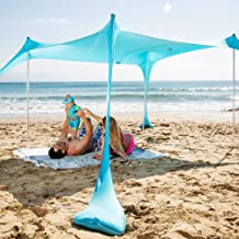 SUN NINJA Pop Up Beach Tent Sun Shelter with Sand Shovel, Ground Pegs,and Stability Poles, Outdoor Shade for Camping Trips, Fishing, Backyard Fun or Picnics (10x10FT 4 Pole, Turquoise)
