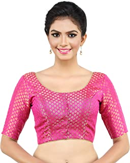 5555cdab73 MADHU FASHION's Traditional Banaras Brocade Readymade Saree Blouse with  Elbow Length Sleeves