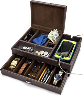 HOUNDSBAY Admiral Big Dresser Valet Box & Mens Jewelry Box Organizer with Large Smartphone Charging Station (Dark Brown)