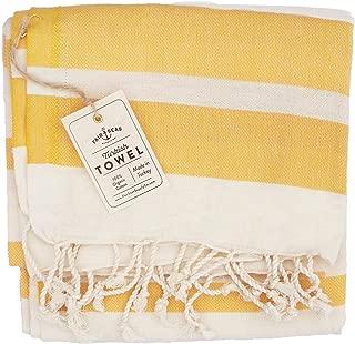 "Fair Seas Supply Co. Turkish Towel, Peshtemal Towel - 100% Organic Turkish Cotton - Quick Dry and Lightweight, 39"" x 71"" Large (Golden Pineapple)"