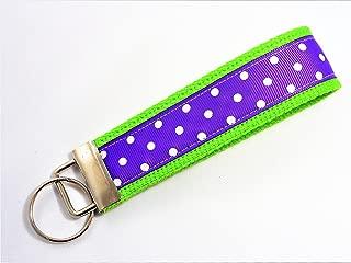 Preppy Dots Ribbon Wristlet Key Fob Keychain Purple Lime