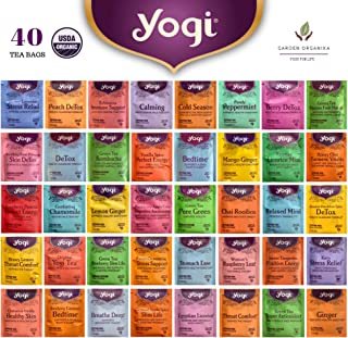 Yogi Organic Tea Sampler - Assortment Variety Pack Set - Black, Mate, Match, Green, Herbal Tea Bags - 40 Count, 1 Each Flavor - /w Eco-Friendly Cotton Bag