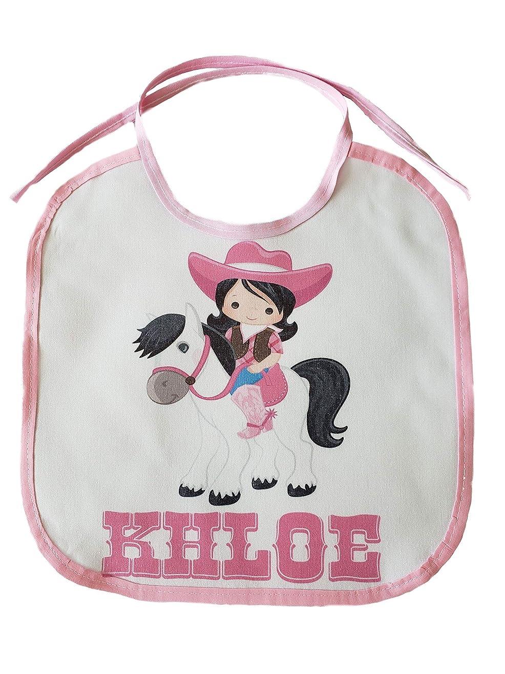 Pink Cowgirl Horse PERSONALIZED CUSTOM NAME Baby Girl Bib