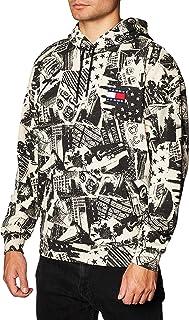 Tommy Hilfiger Tjm Allover Print Badge Hoodie Felpa Uomo DM0DM08409 0GY Logo Print White (L)