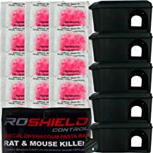 Roshield Mouse Control Black Bait Box Kit Includes Pasta Poison Sachets - Safe Around Children & Pets