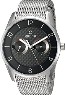 Obaku Men's Quartz Stainless Steel Dress Watch, Color:Silver-Toned (Model: V171GMCBMC)