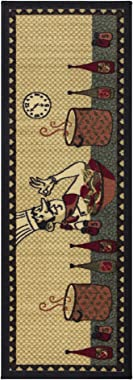 """Ottomanson Siesta Collection Kitchen Chef Design Runner Rug, 20"""" X 59"""", Beige"""
