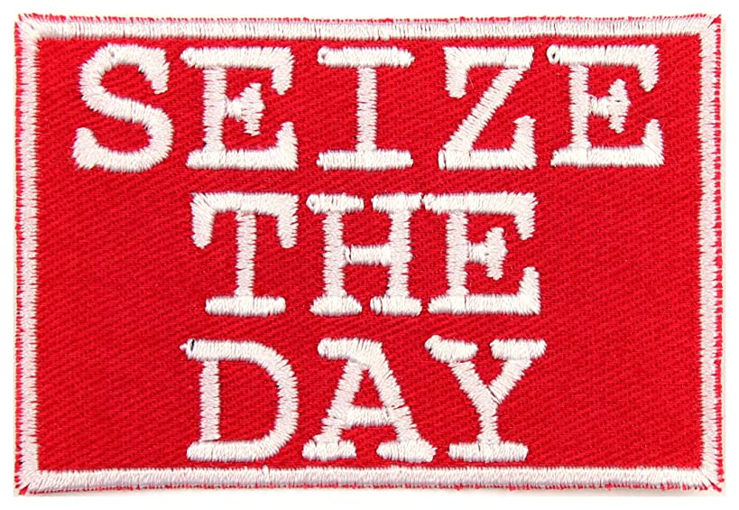 Seize The Day Patch Iron On Applique - Red, White - 3