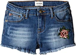 Fray Hem Shorts with Embroidery in Cloud Wash (Toddler/Little Kids)