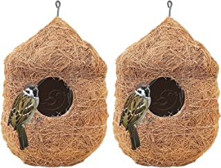 PetNest CR-2 Safest Round Organic Bird Nest Purely Handmade Sparrow (Brown) -Set of 2