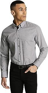 d4d818912c79 Simon Jersey Men's Black & White Patterned Work Shirt