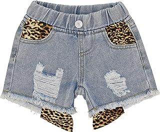 Unique Baby Girls Animal Leopard Print Summer Denim Shorts