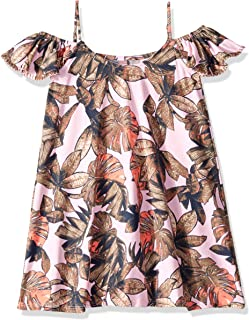 pink dress with birds