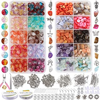 EuTengHao 1458Pcs Irregular Chips Stone Beads Natural Gemstone Beads and le Lampwork Glass Beads 8mm Round Handcrafted le ...