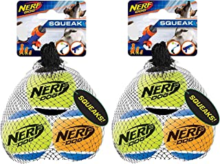 Nerf Dog Tennis Ball Dog Toy with Interactive Squeaker, Lightweight, Durable and Water Resistant, 2.5 Inches, for Small/Me...