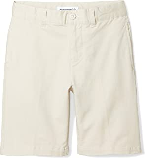 Amazon Essentials Boys Woven Flat-Front Khaki Shorts