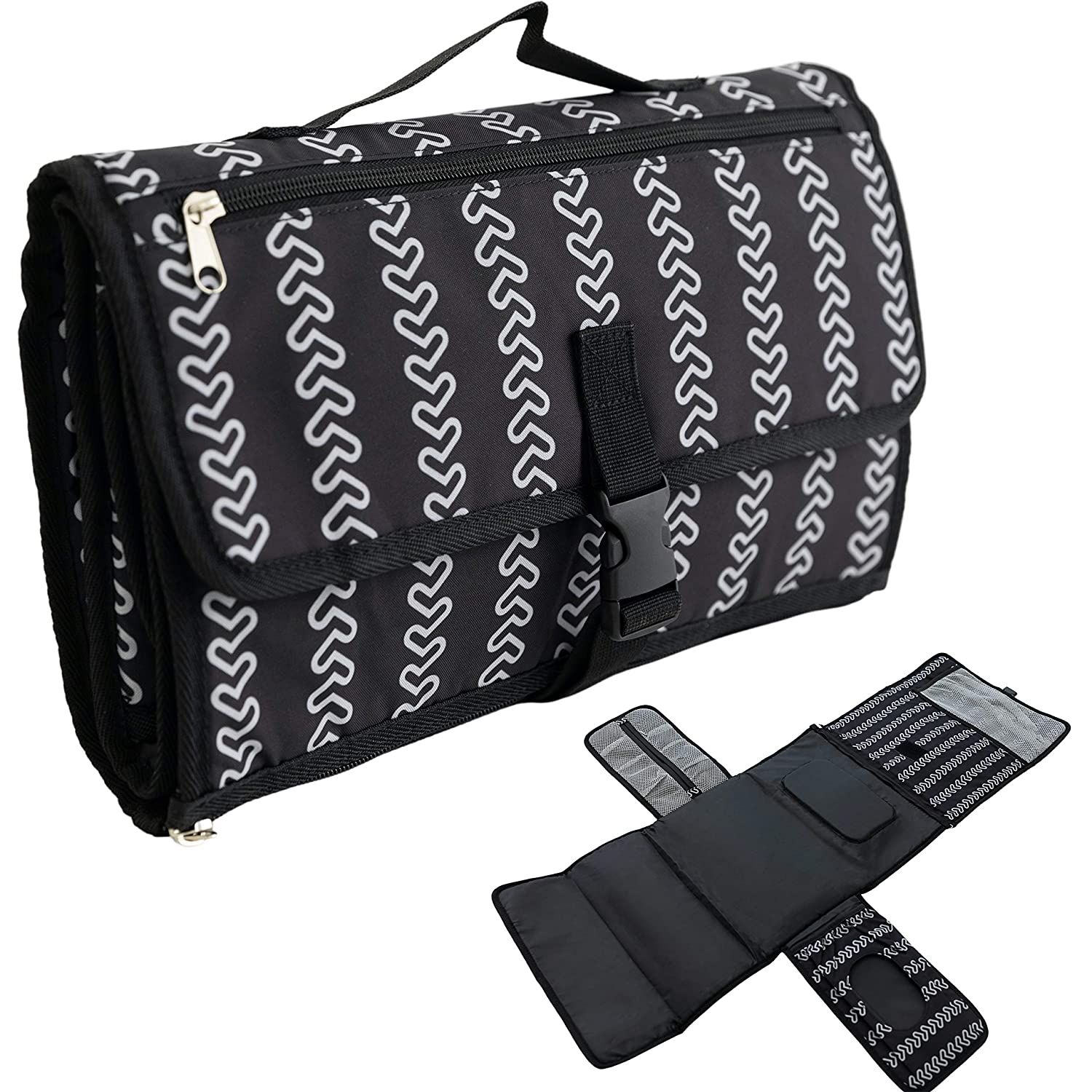 Luxury Little Portable Baby Diaper Changing Pad - 2 Extra Pockets for Diapers, Wipes, Creams, and More - Extra Large Waterproof Travel Mat with Memory Foam Head Pillow - Detachable, Black