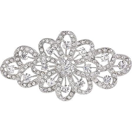 EVER FAITH Broche para Mujer Cristal Austríaco 4 Inch Flor Filigrana Boda