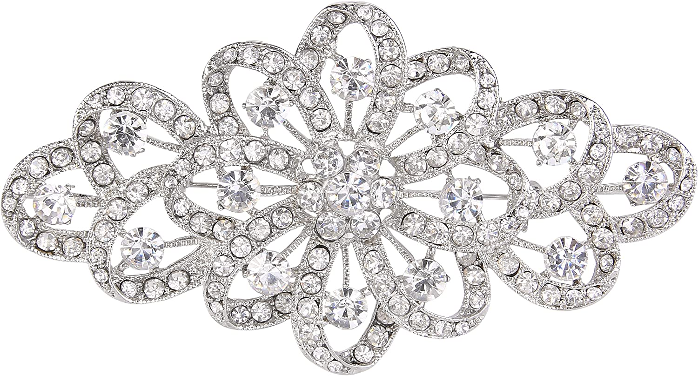 EVER FAITH 4 Inch Bridal Flower Ribbon Brooch Clear Austrian Crystal