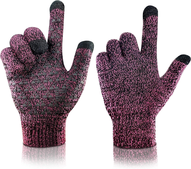 arteesol Winterhandschuhe Touchscreen-Handschuhe Damen Herren Warme Strickhandschuhe Winddicht Thermo Rutschfeste reithandschuhe und verdickte Outdoor-Sportarten Fahren Skifahren Arbeiten Laufen Jagen