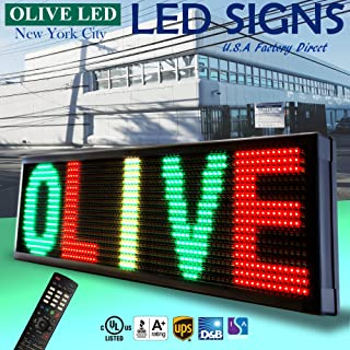 "OLIVE LED Sign 3Color RGY, P30, 22""x60"" IR Programmable Scrolling Outdoor Message Display Signs EMC - Industrial Grade Business Ad machine."
