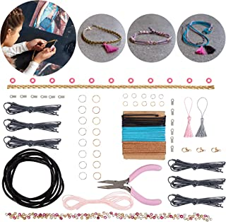 FAO Schwarz DIY Leather Jewelry Making Set with 250+ Pieces, Design and Create Unique Works of Art to Wear, Full Kit, Trendy, Fashionable Necklaces and Bracelets, Best Arts and Crafts Gift for Girls