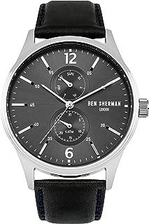 WB047B Mens Spitalfields Vinyl Black Leather Strap Watch