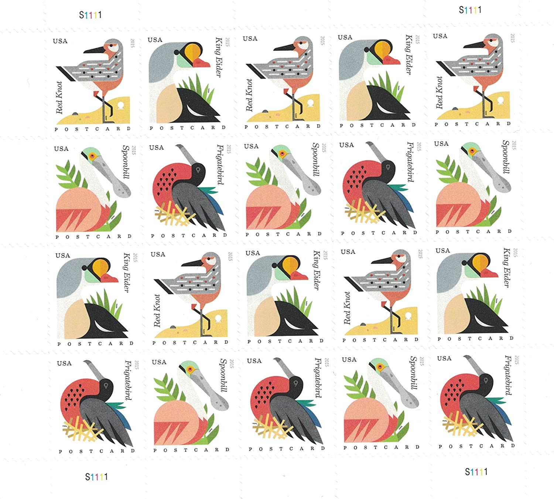 Coastal Birds Stamps Sheet of 20 Postcard Forever U.S. Postage Stamps USPS by USPS