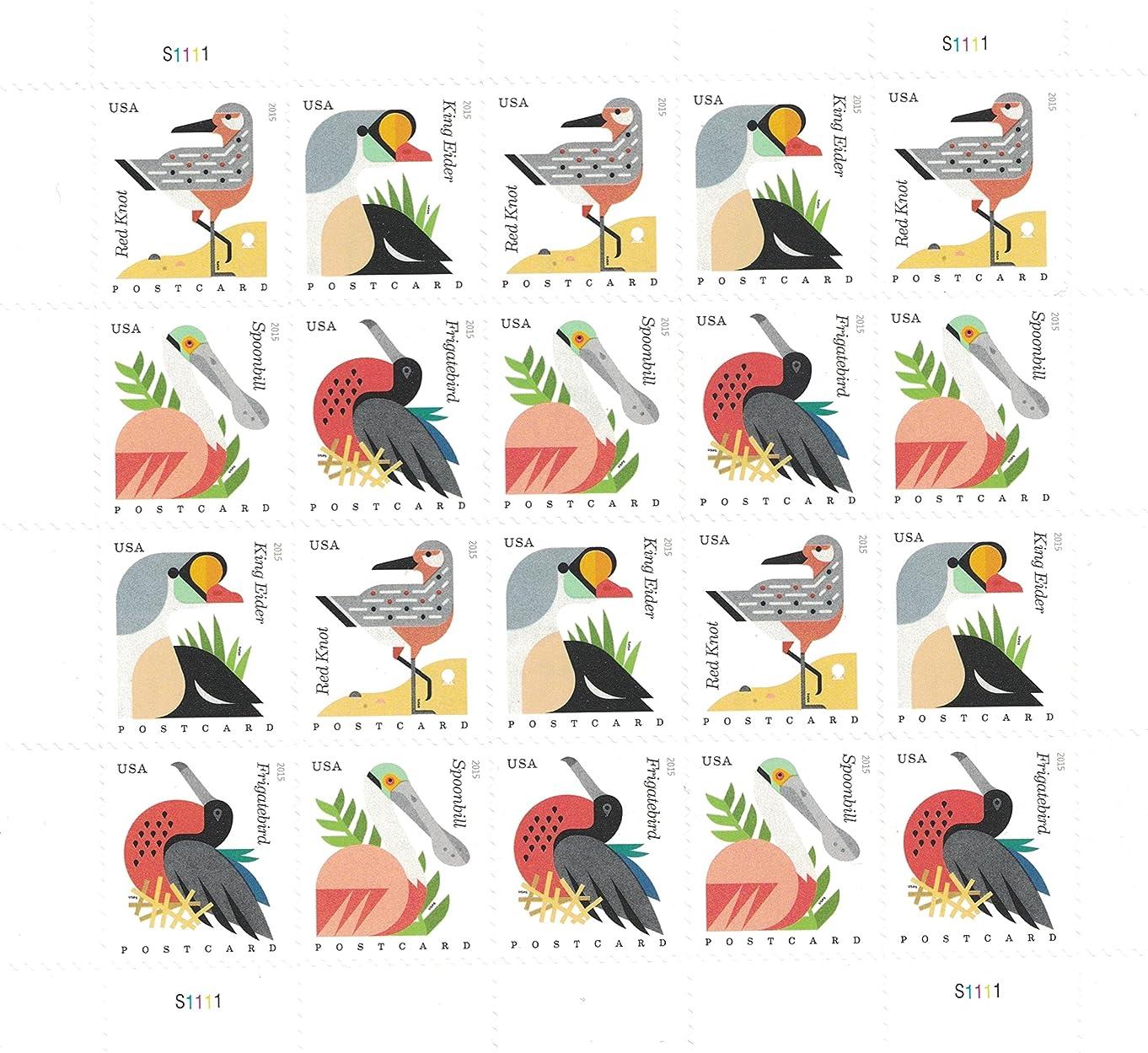 Coastal Birds Sheet of 20 Postcard Forever U.S. Postage Stamps by USPS