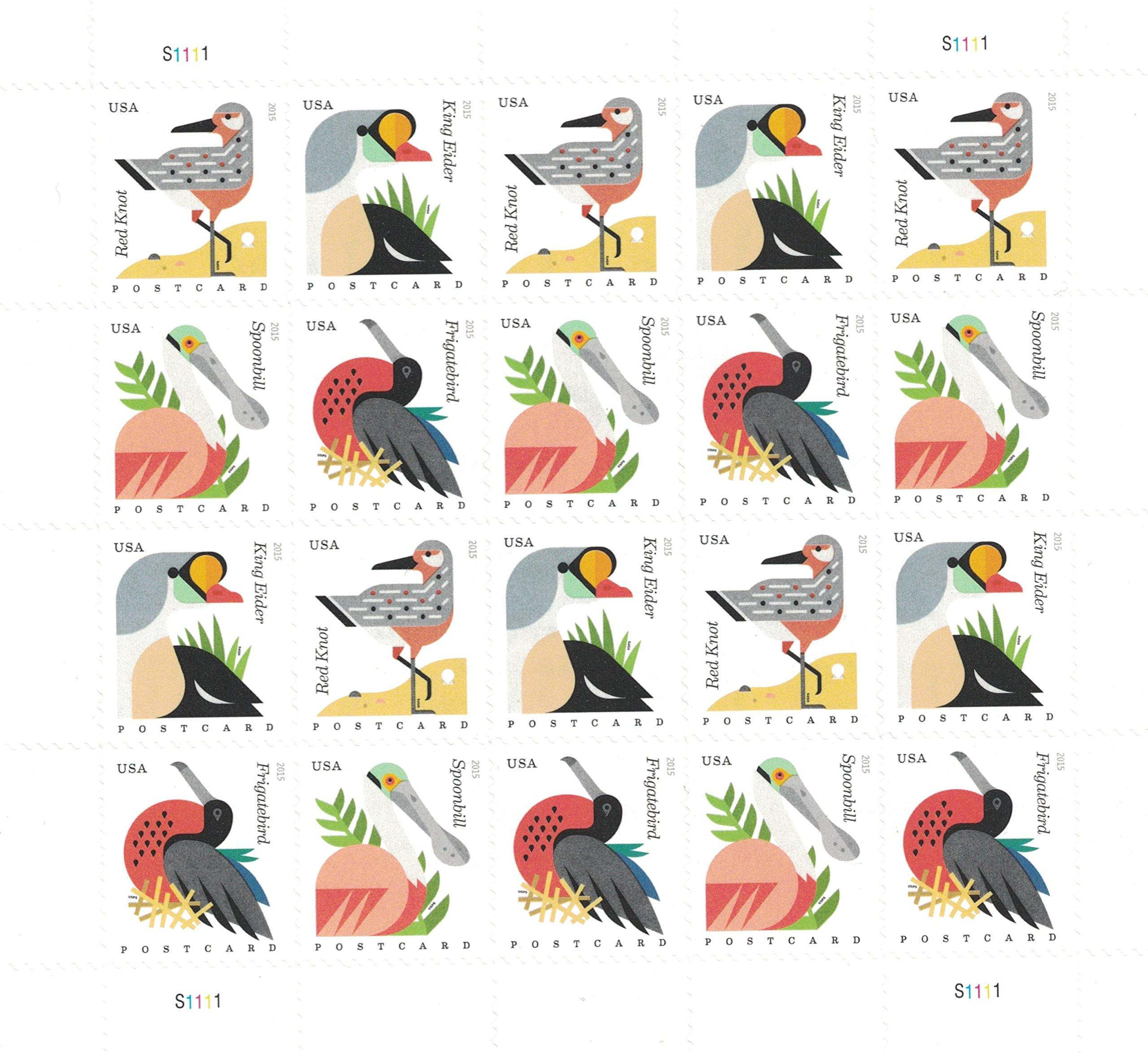 Coastal Birds Sheet Of 20 Postcard Forever U S Postage