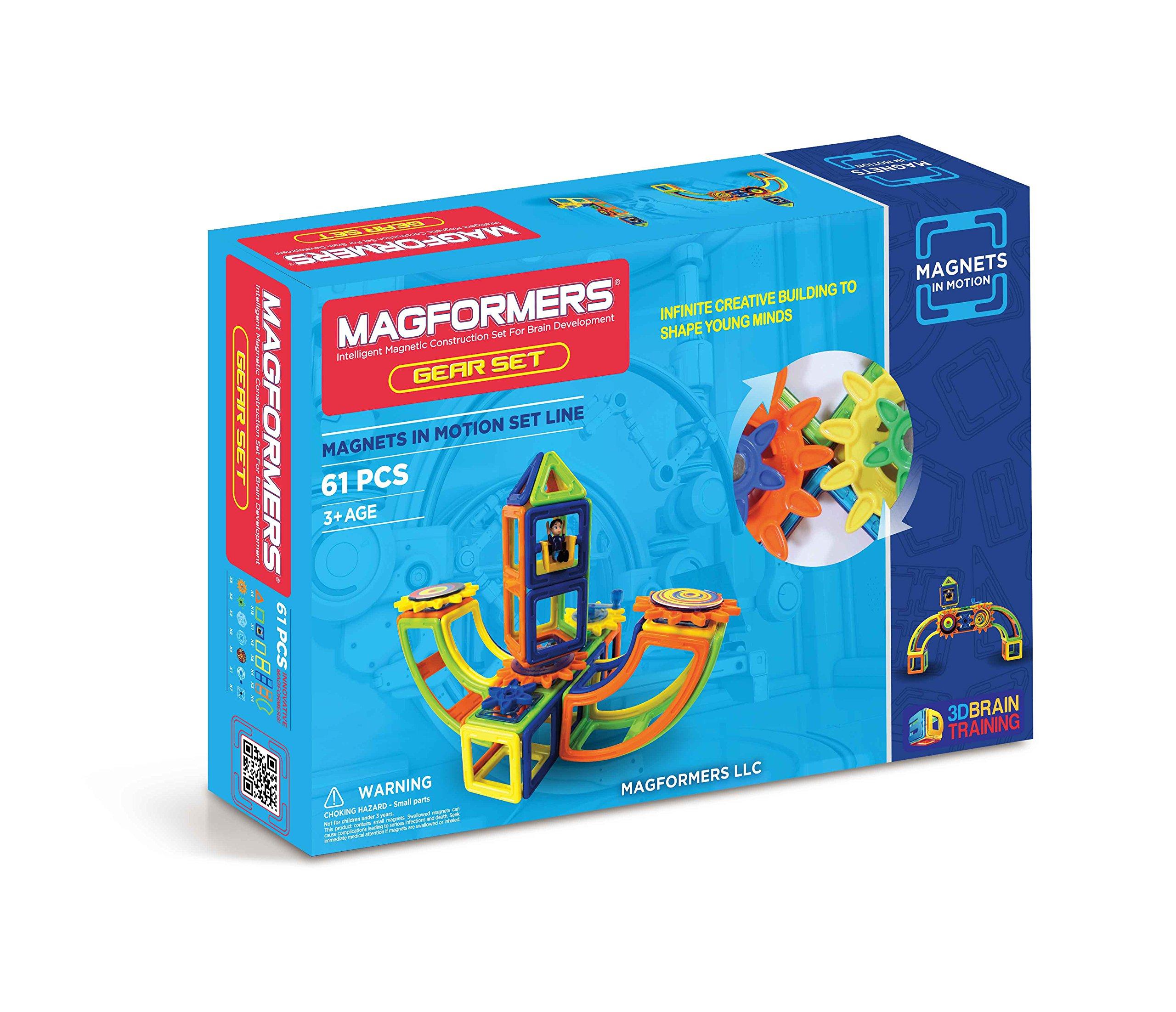 运动装中的 Magformers 磁铁(61 件)磁性积木,教育磁性瓷砖套件,磁性建筑 STEM 齿轮玩具套装