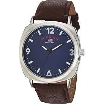 U.S. Polo Assn. Men's Analog-Quartz Watch with Leather-Synthetic Strap, Brown, 22 (Model: US5238)