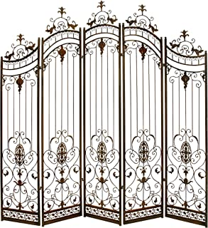 Deco 79 Traditional Metal 5-Panel Gate Room Divider, 80