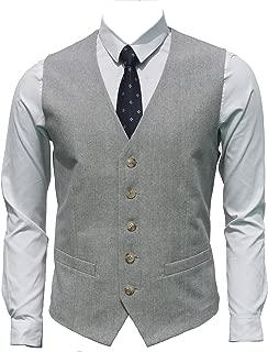 Ruth&Boaz Men's Linen Blend 2Pockets 5Buttons Summer Vest
