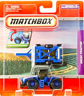 2009 - Mattel - Matchbox - Mega Tractor (Blue) - Articulated Steering - With Disc Trailer / Detachable - Die Cast Parts - Mint - Out of Production - Collectible