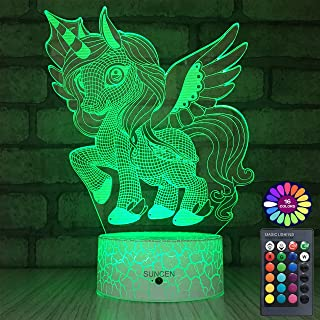 SUNCEN Unicorn Gifts Unicorn Lamp Night Light for Kids with Remote & Smart Touch 7 Colors + 16 Colors Changing Dimmable Unicorn Toys 1 2 3 4 5 6 7 8 Year Old Girls Gifts Kids Room Decor (Cool Unicorn)